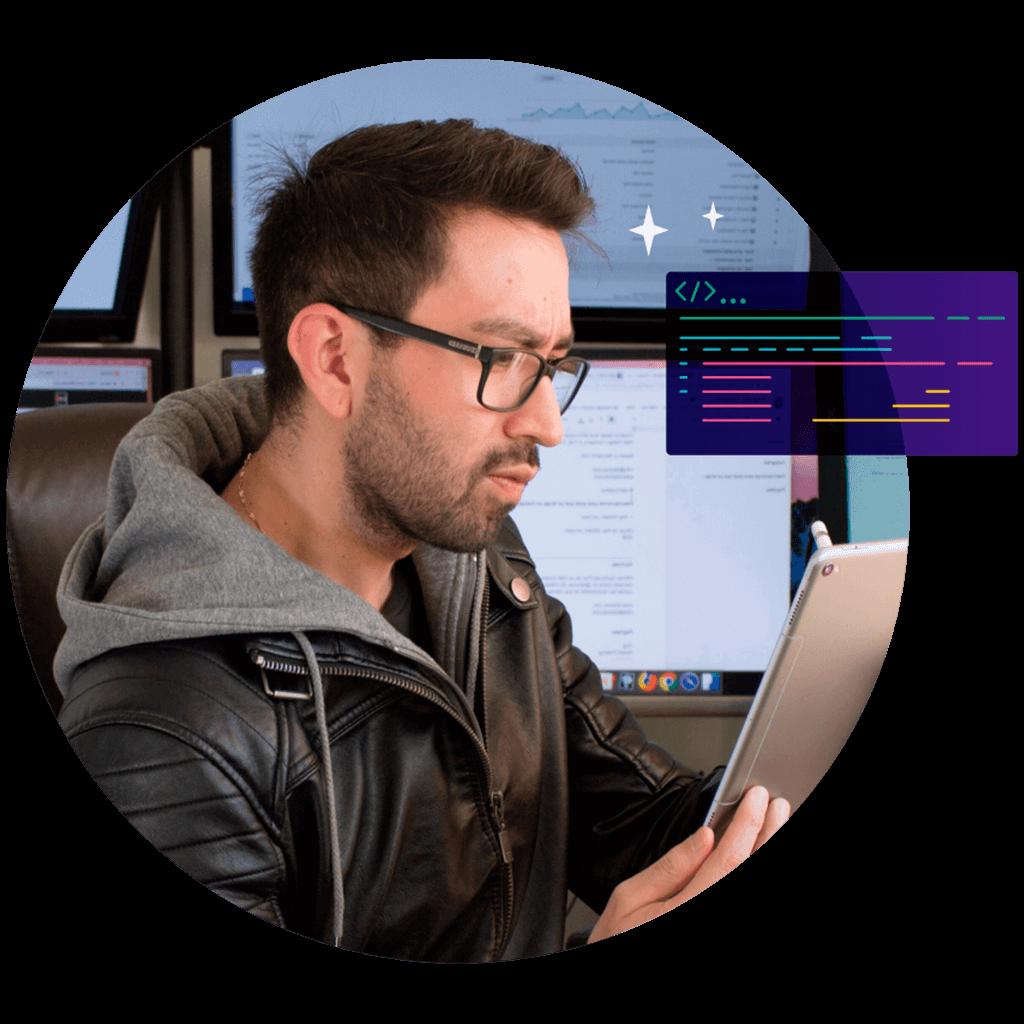 Web programmer coding a website in Waldorf